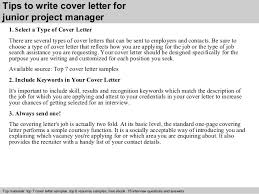 junior project manager cover letter      tips to write cover letter for junior project manager