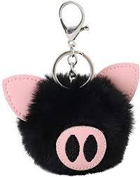 SUPPION Faux Rabbit Fur Ball PomPom Cute Pig Car ... - Amazon.com