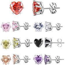 XZP Brilliant Colorful Zirconia Stud Earrings Heart ... - Amazon.com
