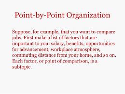 comparisoncontrast essays point by point organizationsuppose