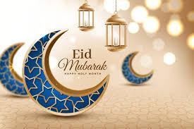 Free Vector | Crescent blue moons realistic <b>eid mubarak</b>