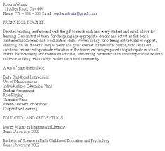 preschool teacher resume sample preschool teacher cover letter