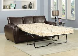 living room mattress: leather sleeper sofa with white mattress for cool blue living room