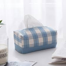 2019 Light Blue Plaid Modern <b>Minimalist Tissue Box</b> Fabric <b>Nordic</b> ...