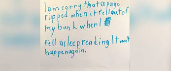 boy s contrite note over torn library book brings cheers abc news photo an undated photo from a young boy who sent a handwritten apology note to