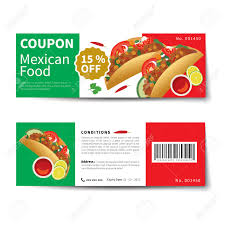 mexican food coupon discount template flat design royalty vector mexican food coupon discount template flat design