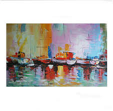 wall art framed zoom one panel hand painted oil paintings abstract boats on shoreside canva