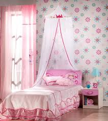 modern small girls bedroom design displaying beautiful pink single bed be equipped comforter set and canopy beauteous pink blue