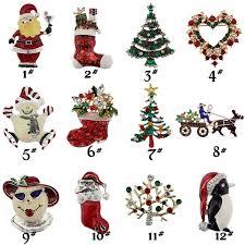 2019 <b>Christmas Theme Brooch Pin</b> Gift Beautiful Multi Colored Metal ...