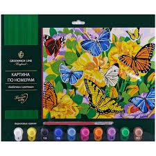 """<b>Картина по номерам Greenwich</b> Line """"Бабочки с цветами"""" А3, с ..."""