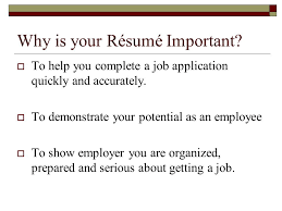 résumé   pronounced reh zoo    a brief summary of your contact    why is your résumé important   to help you complete a job application quickly and
