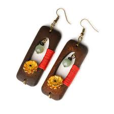 Ethnic Handmade Wood Jade <b>Earrings Vintage</b> Gold Daisies Flower ...
