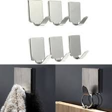 6pcs <b>rectangle stainless steel bathroom</b> kitchen sticky hooks at ...