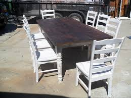 7ft dining table: dining table ft with  chairs reclaimed wood old pine shabby