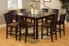 piece dining room set high table  pieces espresso finish bar height chairs with wood veneer high top ta