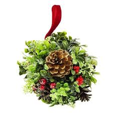 "7"" Glittered Artificial Boxwood, <b>Berry</b> & Pine Cone <b>Christmas</b> Kissing ..."