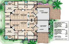 Mediterranean Multi Family House Plan   GW   st Floor Master    Floor Plan