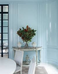 ideas light blue bedrooms pinterest: white click here to download download whole gallery sky blue gloss paneled walls in an oval dining room by david kleinberg click here to download download