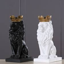 4 Color Creative <b>Golden Crown Lion Statue</b> Modern Resin Black ...