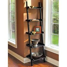 black stained wooden frame ladder bookcase with black sheet metal step unique curved corner stair shape light brown brown solid wood shape home