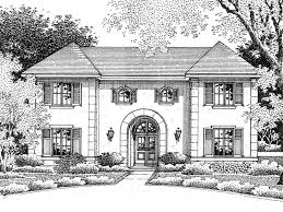 Louisbourg European Home Plan D    House Plans and MoreSymmetrical Stucco European Style Manor House