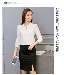 Spring <b>Autumn Women Chiffon</b> Blouse Casual Long Sleeve Slim ...