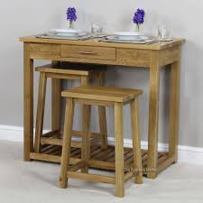 Kitchen Bar Table And Stools London Solid Oak Breakfast Bar Kitchen Table And 2 Stools