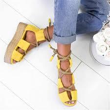 Oeak Fashion Boho <b>Women</b> Sandals <b>Lace Up</b> 2019 Hemp Rope ...