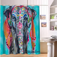 colored shower curtain bathroom waterproof fxy custom colorful elephant print fabric modern shower curtain bathro