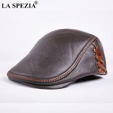2019 <b>LA SPEZIA Real Leather</b> Beret Men Hat Casual Brown Male ...