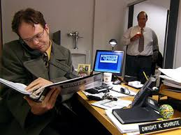 when jim calls dwights phone line he simply sits down and starts answering jims questions matter of factly because thats what you do when your phone bathroom office