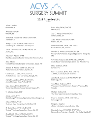 2015 attendee list american college of veterinary surgeons