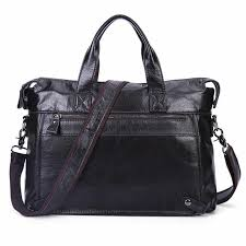 "100% Natural Cow <b>Leather Men</b> Handbag <b>Big</b> Volume 15"" Inch ..."