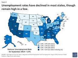 implementing the aca medicaid spending enrollment growth figure 4 unemployment rates have declined in most states though remain high in a