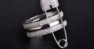 Blucome AAA <b>Zircon</b> Rhinestone Copper Ring Unique Three Finger ...