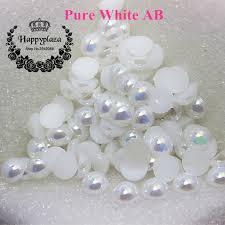 1.5 12mm <b>Flatback White AB</b> Half Round Pearl Beads Resin ABS ...
