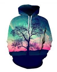 Tree <b>Aurora Style</b> Pink Scenery Couple Long Sleeve Spandex 3D ...