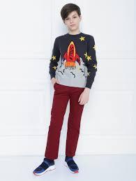 <b>Джемпер</b> из хлопка и шерсти с декором <b>Stella Jean</b> Kids серый ...