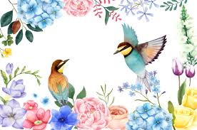 Illustration of <b>hand painted flowers and birds</b> Vector   Free Download