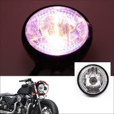 "7"" Halo <b>Motorcycle</b> Headlight <b>LED Turn Signal</b> with H4 Bulb for Harley"