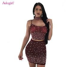 adogirl fluorescent green mesh diamonds bodycon dress one shoulder long sleeve night club mini dresses sexy ladies cloth
