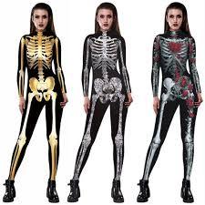Women <b>Skull</b> Skeleton <b>Bone Halloween Cosplay</b> Jumpsuit Bodycon ...