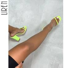 liren 2019 summer new sexy colorful snake pattern high square heels fashion pu transparent pointed feet open toe lady sandals