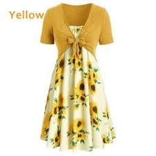 Two Piece Dress Women's <b>Fashion</b> Summer <b>Sunflower</b> Printed ...