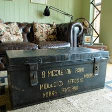 room vintage chest coffee table: vintage military trunk industrial wwii footlocker metal chest coffee table box