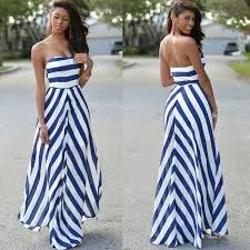 Women's Boho Blue And White Striped Strapless Chiffon Dresses ...