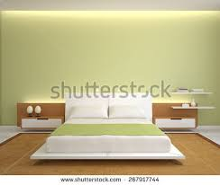 Modern Bedroom Interior With Green Walls And Kingsize Bed 3d Render