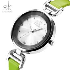 Shengke <b>New Fashion</b> Brand Leather Strap Diamond Quartz ...