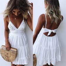 Boho Summer Dress <b>Women Sexy</b> Strappy Lace <b>Bow Backless</b> Mini ...