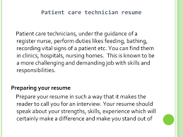 patient care technician resume sample resume examples  technician resume sample this is a collection of five images that we have the best resume and we share through this website